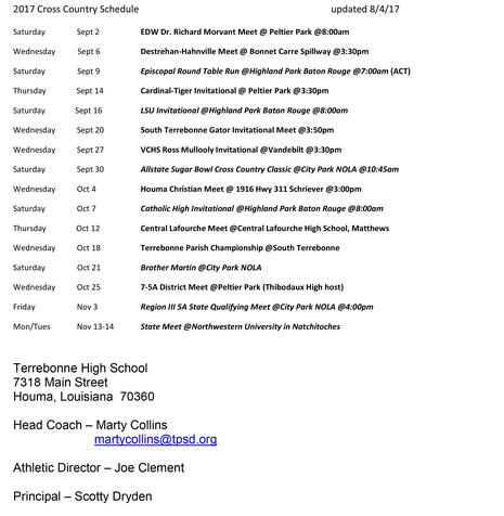 2017-2018 CROSS COUNTRY SCHEDULE