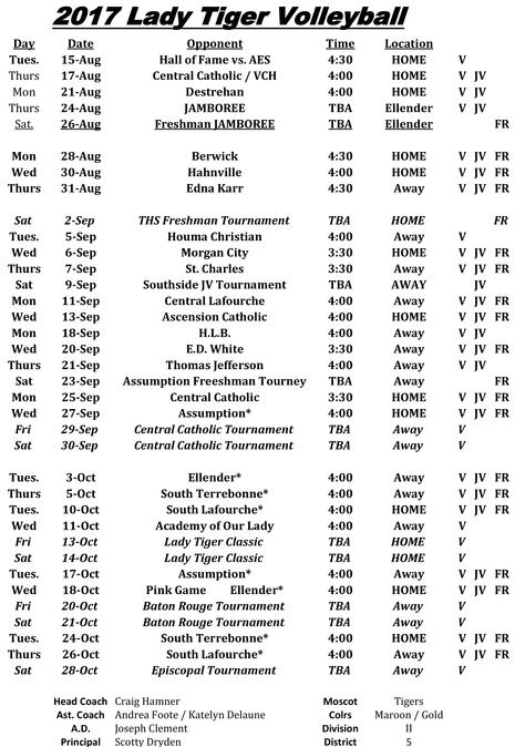 2017-2018 VOLLEYBALL SCHEDULE